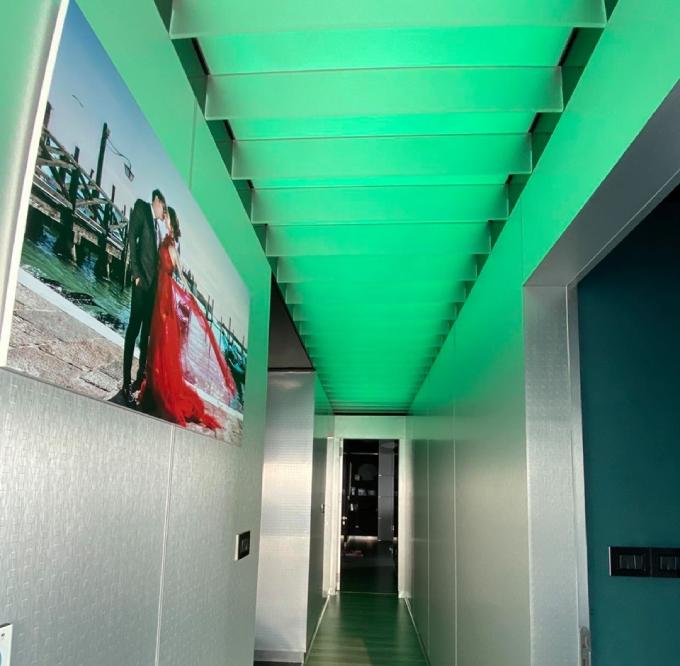 Lối vào của căn hộ được trang trí bởi ảnh cưới của cặp vợ chồng. Phần trần nhà gắn hệ thống ánh sáng, giúp lối vào căn hộ thay đổi màu sắc linh hoạt.