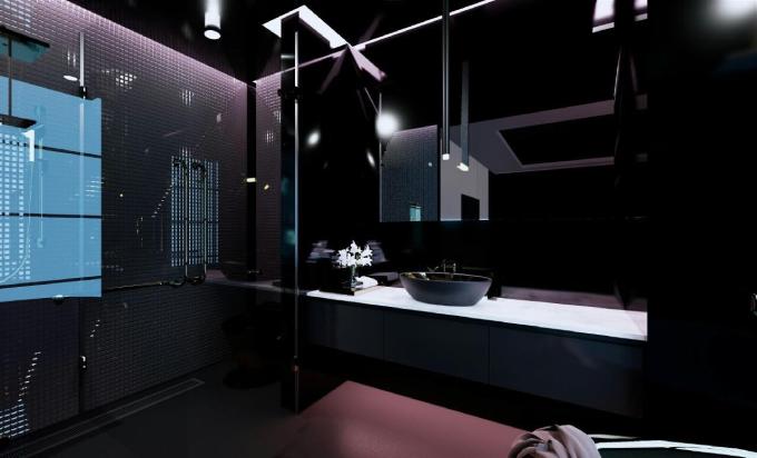 Toàn bộ tường ốp gạch, giúp nhà vệ sinh trở nên sạch sẽ, dễ lau chùi, tránh ẩm mốc.