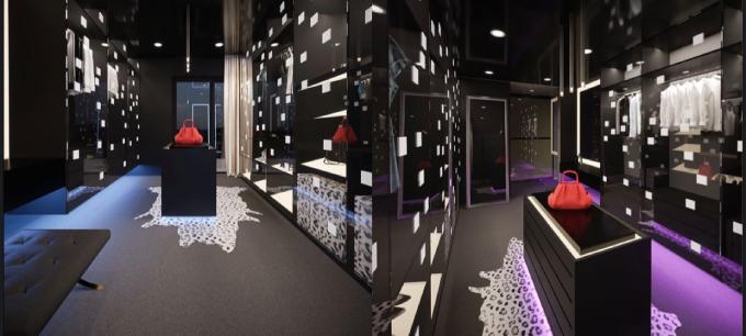 Phòng thay đồ của cặp vợ chồng mang tông đen trắng, giúp tạo sự hiện đại, sang trọng.