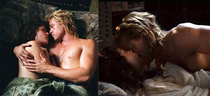 Rose Byrne và Brad Pitt có cảnh sex nóng bỏng trong Troy.