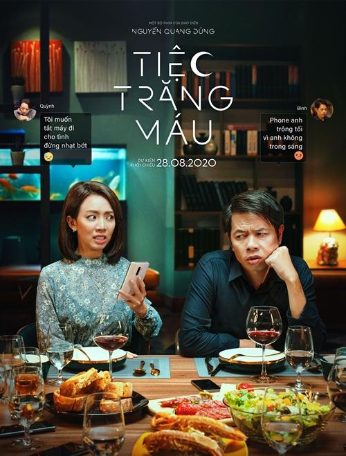 Thu Trang khổ vì ông chồng Thái Hòa trong phim Tiệc trăng máu.