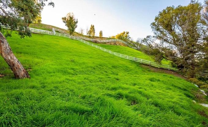 Toàn bộ mảnh đất thuộc sở hữu của Miley Cyrus rộng 5.000 m2, gồm vườn tược, sân cỏ.