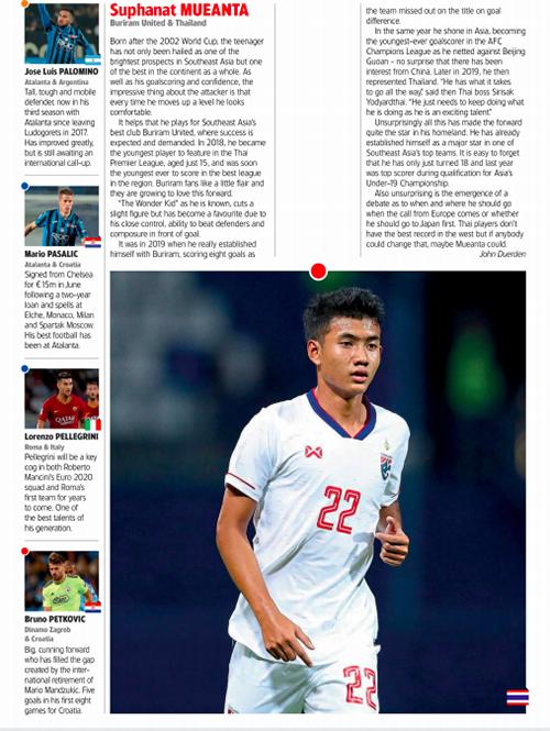 World Soccer dành hẳn một trang để viết về ngôi sao trẻ triển vọng của bóng đá Thái Lan Suphanat Mueanta.