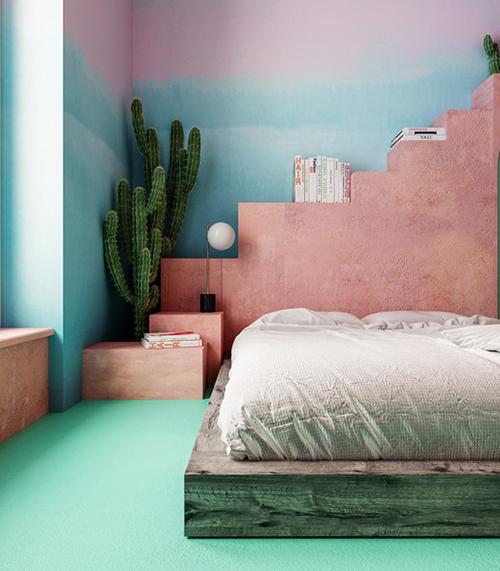 Phòng ngủ được sơn tường ombre xanh hồng.
