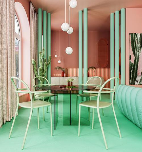Khu vực ăn uống. Nhóm KTS kết hợp tài tình các tông màu tương phản xanh - hồng cùng các màu trung tính trong căn hộ.