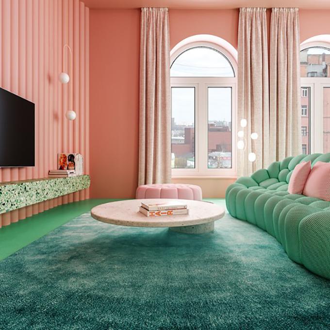 Tường, nội thất màu hồng đất nung giúp tạo sự nổi bật cho không gian. Bất kỳ nơi nào trong căn hộ cũng có thể là góc sống ảo cho gia chủ.