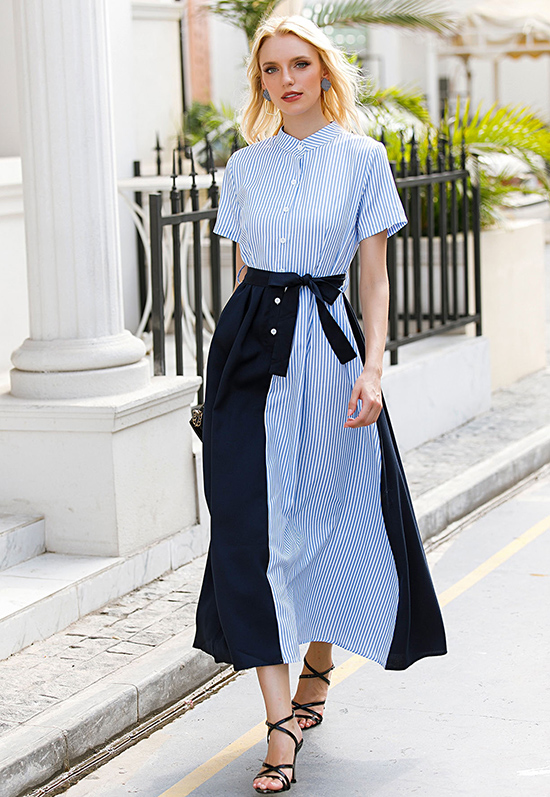 Trong tiết trời hè thu mát mẻ, váy sơ mi là kiểu trang phục nên được ưu ái bởi nét thanh lịch đặc trưng, dễ phù hợp nhiều hoàn cảnh xuất hiện.