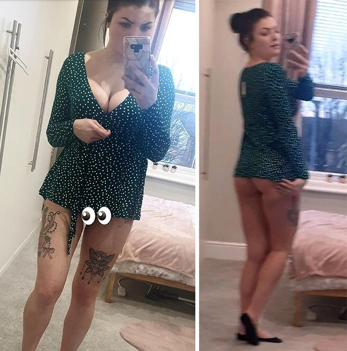 Cô gái hết hồn vì đầm mua online không che được ngực - 8