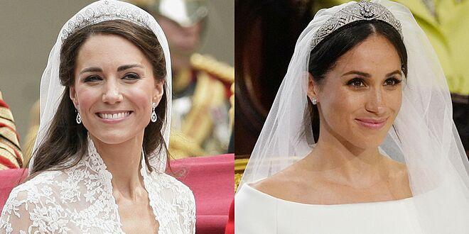 Ngay cả trong ngày trọng đại của cuộc đời, Công nương Kate và Meghan đều chỉ trang điểm nhẹ nhàng và không dùng màu son đậm.