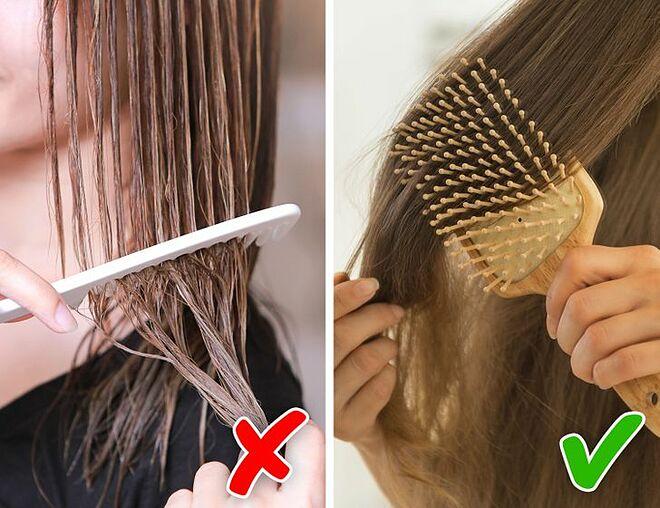 Chải tóc khi ướt sẽ khiến tóc rụng nhiều hơn.