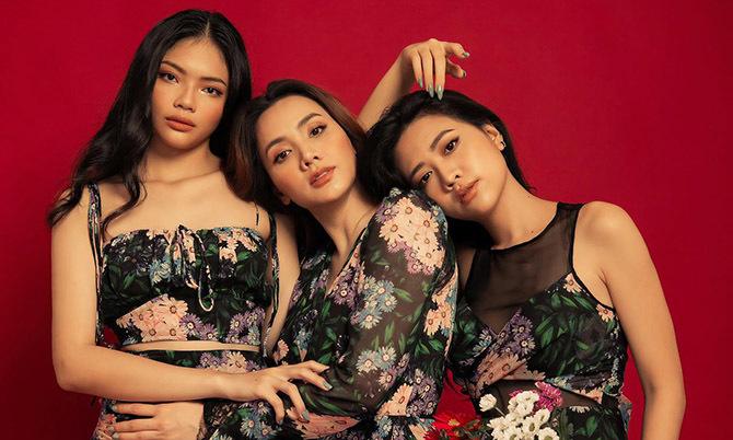 Trang Nhung làm mẫu ảnh cùng hai cháu gái