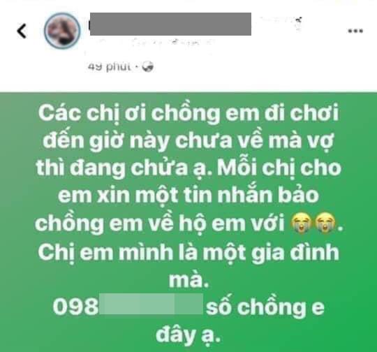 Chị Phương nhờ chị em trên mạng gọi chồng về.