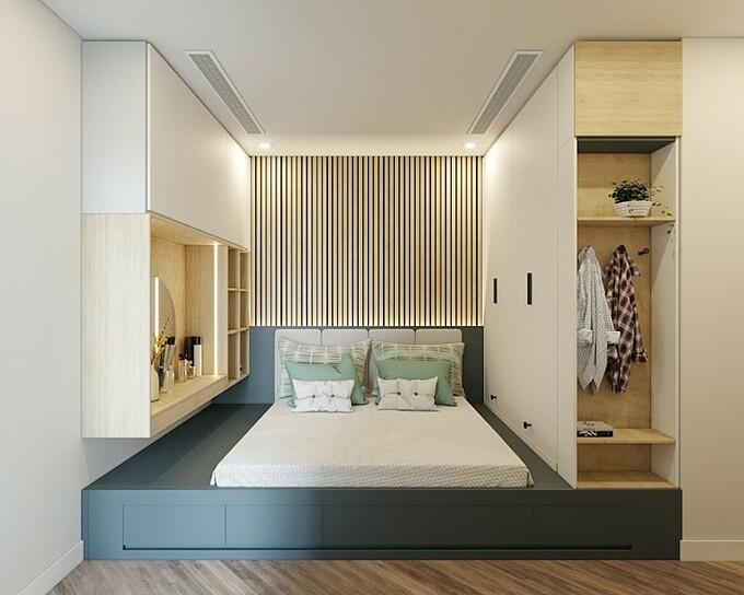 kết hợp giường và tủ trong cùng một hệ thống liền mạch