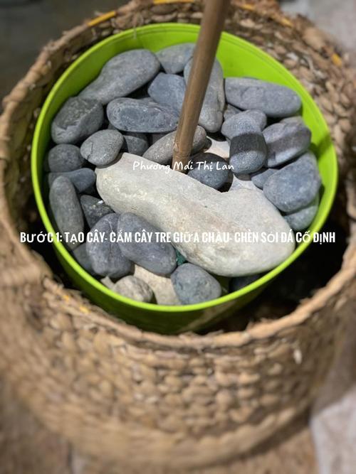 Để có thể cắm cây hoa hồng, Lan Phương chia sẻ cách làm gồm 4 bước. Bước đầu tiên, cô cố định thân cây tre giữa chậu bằng sỏi đá.