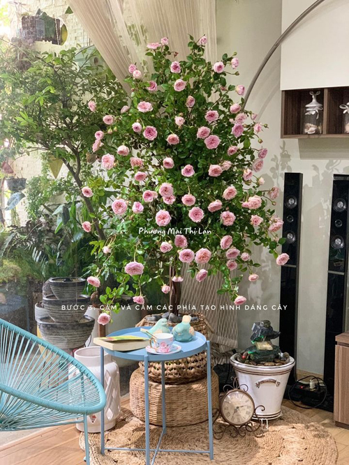 Bước 3, cô cắm hoa vào xốp đã ướt nước. Để cây hoa có tạo hình đẹp, Lan Phương gợi ý nguyên tắc cắm hoa tạo viền dáng cây, từ ngoài vào trong, từ trên xuống dưới, cắm dần dần vào trung tâm tán cây.Lan Phương cắm đủ 90 bông hồng vào hai miếng xốp, tạo nên được cây cao khoảng 150 cm, ngắm được ở 240 độ.