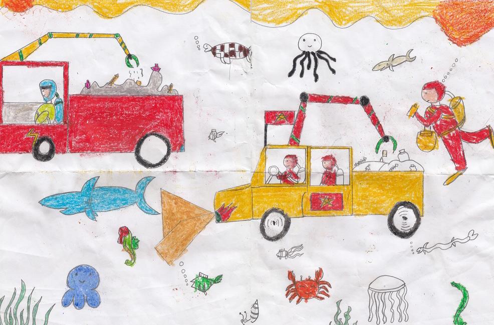 Vào dịp được cùng mẹ đi biển Phan Thiết, bé Anh Tài rất thích biển nhưng thấy mọi người xả rác quá nhiều. Nếu một ngày nào đó, tất cả biển đều tràn ngập rác thải nhựa, chắc biển sẽ không còn sạch, xanh và sinh vật biển sẽ chết. Cậu bé 8 tuổi ước mơ có thể sáng chế ra những chiếc xe chuyên dụng lặn dưới biển để thu gom rác thông qua bức vẽ.