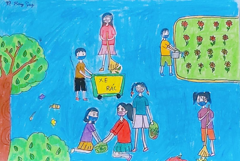 Trên đường bé Hương Giang đi học có nhiều rác, rác cũng không được cho vào thùng thu gom. Tại nơi bé ở, hàng ngày, bé Hươn Giang cùng mẹ và các bác quét dọn xung quanh và thu gom rác về nơi quy định. Bé mong mọi người cùng nhau giữ gìn môi trường sống, giúp cho không khí trong lành và tươi xanh.