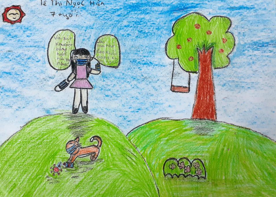 Bé Ngọc Hân (7 tuổi) vẽ bức tranh thể hiện niềm mong ước Covid-19 nhanh chóng được dập tắt. Mọi người khi đến nơi công cộng nhớ đeo khẩu trang và sát khuẩn tay để phòng chống Covid-19. Em mong mọi người đều được bình an.
