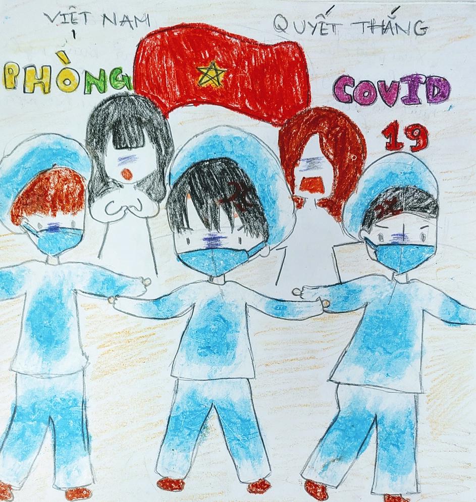 Niềm tin Việt Nam sẽ luôn chiến thắng Covid-19 của bé Phúc Huyên (12 tuổi) được thể hiện qua bức vẽ. Bé thường nghe mẹ bảo, Covid-19 nguy hiểm nhưng với sự quyết tâm của bác sĩ và người dân, Việt Nam và thế giới sẽ nhanh chóng sạch bóng corona.
