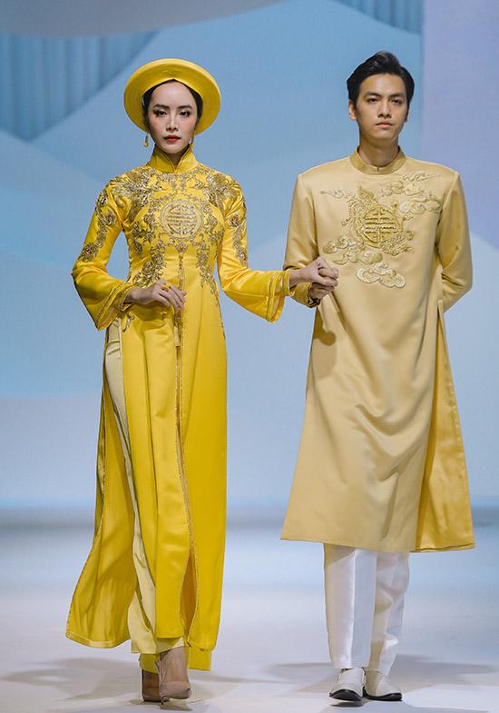 Đen, trắng, đỏ và vàng là những gam màu chủ đạo Thuỷ Nguyễn chọn thực hiện sưu tập áo dài cưới cho năm 2020.