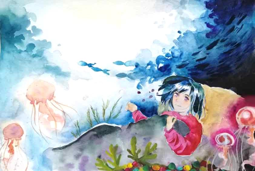 Một ngày tỉnh dậy, Hà Trang thấy trước mắt mình là khoảng đại dương mênh mông. Nơi đó không có chai nhựa, các loại rác thải khác. Bé thỏa thích ngắm nhìn đàn cá bơi lượn, những chú sứa đang vây quanh mình. Bên dưới là hòn sỏi biển đầy màu sắc, san hô với hình dạng kỳ lạ.