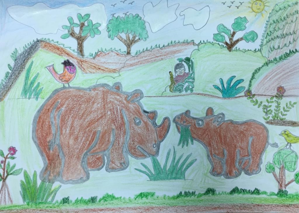 Bức tranh Quỳnh Nga (7 tuổi) vẽ hai mẹ con tê giác đang vui vẻ cùng nhau ăn cỏ, tuy nhiên không hề hay biết nguy hiểm đang rình rập. Bé mong tê giác được sống trong môi trường thiên nhiên, không bị săn bắt. Tìm hiểu về các loài tê giác và gia tăng số lượng chúng trong tự nhiên là ao ước của bé.