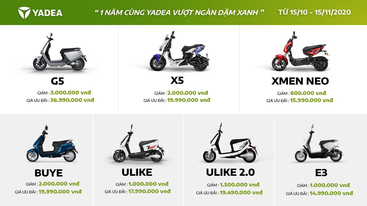 Các mẫu xe máy điện YADEA