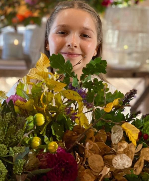 Cô nhóc Harper và bố còn hái hoa kết thành vòng hoa mùa thu. Buổi đi chơi có vẻ diễn ra hôm cuối tuần khi cô nhóc 9 tuổi được nghỉ học.