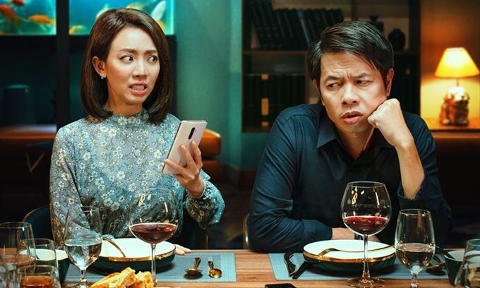 Thu Trang - Thái Hòa diễn vợ chồng đầy hài hước.