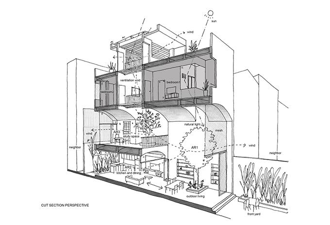 Sơ đồ 2D của công trình.  Dù nhà nằm trong khu dân cư chật hẹp nhưng nhờ nhiều không gian mở đã tạo nên không gian sống gần thiên nhiên, giúp tạo trải nghiệm đa dạng cho gia chủ.
