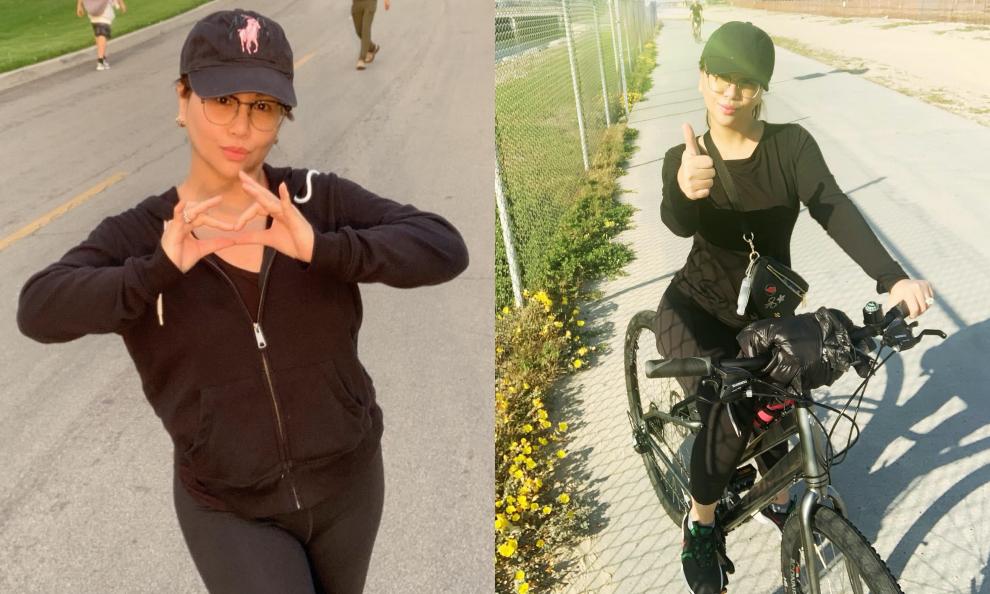 Cô cũng chăm chỉ chạy bộ, đạp xe giúp giữ gìn vóc dáng tuổi 44.
