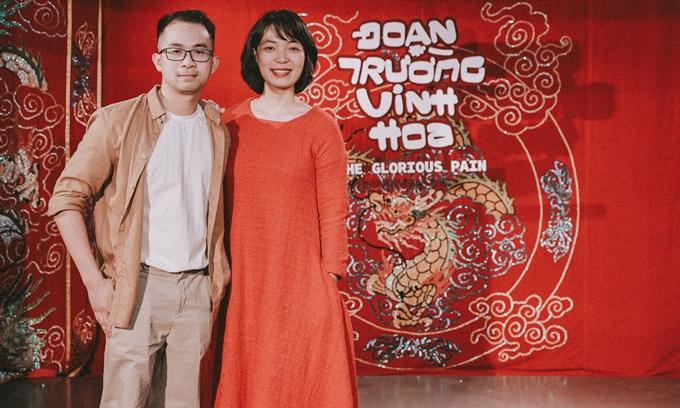 Đạo diễn Nguyễn Hoàng Điệp ủng hộ phim Đoạn trường vinh hoa của đạo diễn trẻ Lê Mỹ Cường (trái).