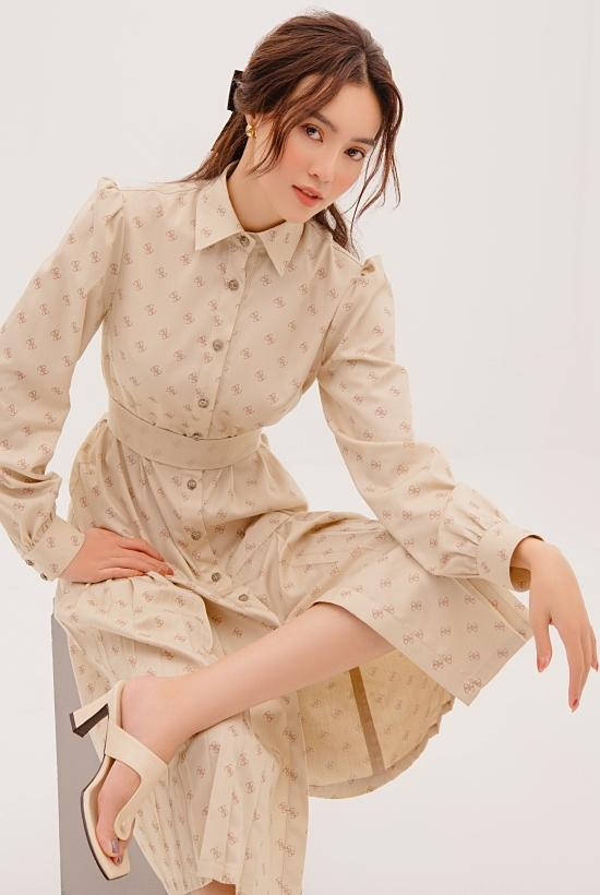 Lan Ngọc yêu thích chiếc váy hơi hướng sơmi cổ điển, đi kèm giày ton-sur-ton.