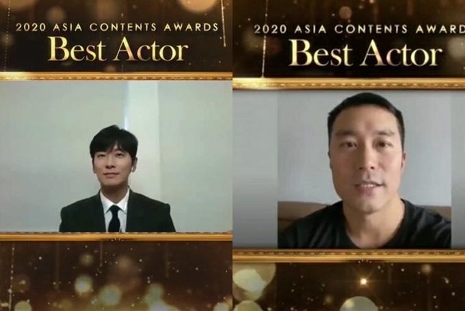 Joo Ji Hoon (trái) và Trương Hiếu Toàn cùng nhận giải Nam diễn viên xuất sắc.