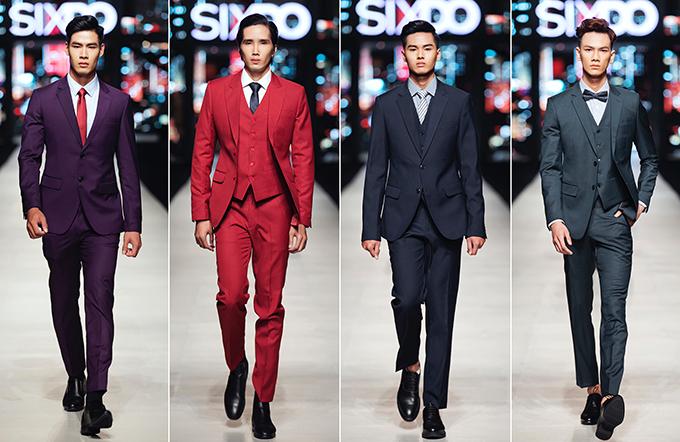 Trong show diễn tối 24/10, NTK Đỗ Mạnh Cường giới thiệu nhiều mẫu suit nam đượccắt may chỉn chu theo phom dáng cổ điển.