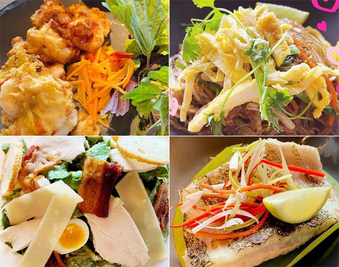 Thực đơn bữa sáng, bữa trưa cũng khá phong phú, có nhiều lựa chọn cho khách từ các loại hải sản tươi sống tại địa phương cho tới các món ăn theo phong cách Á - Âu.