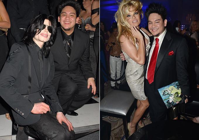 Hoàng tử Haji Abdul Azim chụp cùng ông hoàng nhạc pop Michael Jackson năm 2007 (trái) và Pamela Anderson (phải). Ảnh: FilmMagic/Rex.