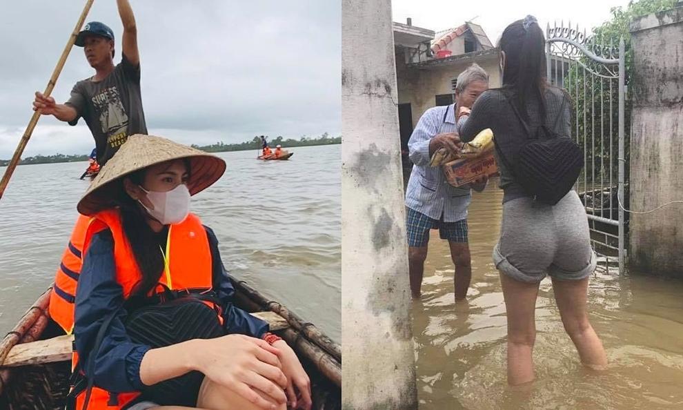 Thủy Tiên là một trong những sao Việt tiên phong hoạt động cứu trợ bà con miền Trung vượt qua bão lũ. Cô trốn chồng, cùng một số thành viên khác bay ra Huể để triển khai hoạt động. Hình ảnh Thủy Tiên ngồi trên xuồng chông chênh giữa biển nước hay xắn quần để
