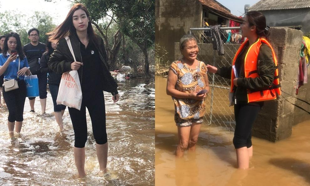 Hoa hậu Đỗ Mỹ Linh cũng lội nước đục ngầu đến chia sẻ cuộc sống của người dân vùng lũ.