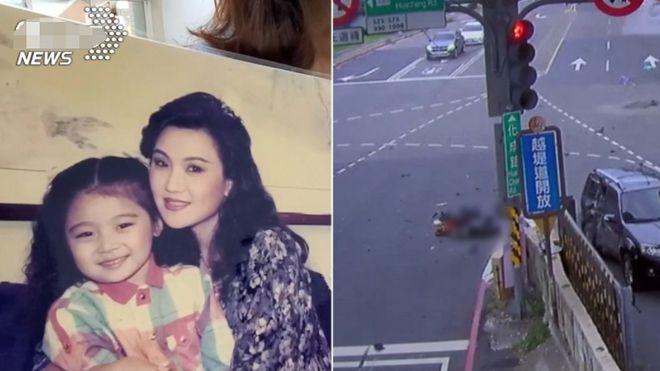 Sao nhí Thái Á Trân (ảnh trái, trong tay mẹ) và hiện trường tai nạn.