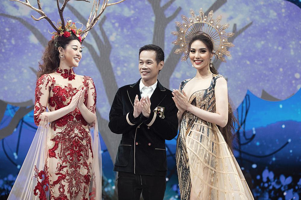Lan Khuê (phải), Khánh Vân cùng NTK Hoàng Hải chào kết.