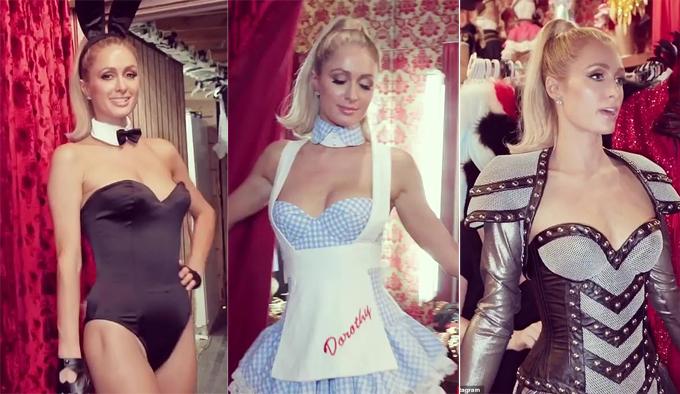 Paris Hilton thử loạt trang phục khác nhau để chuẩn bị đi tiệc Halloween.