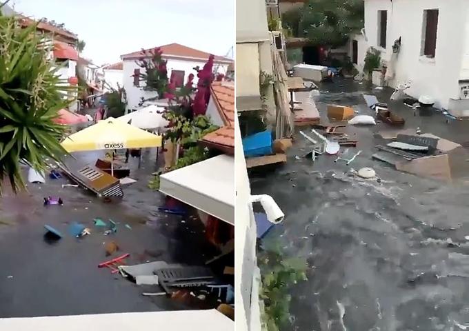 Nhiều đồ đạc bị cuốn trôi do sóng cao 1,5 m ập vào đất liền. Ảnh: Twitter.