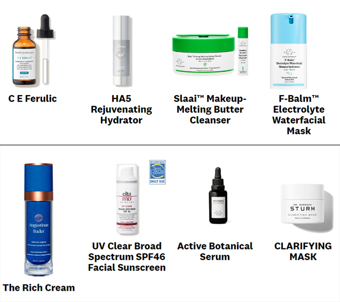 Một số sản phẩm chăm sóc da được Hailey Bieber tín nhiệm.
