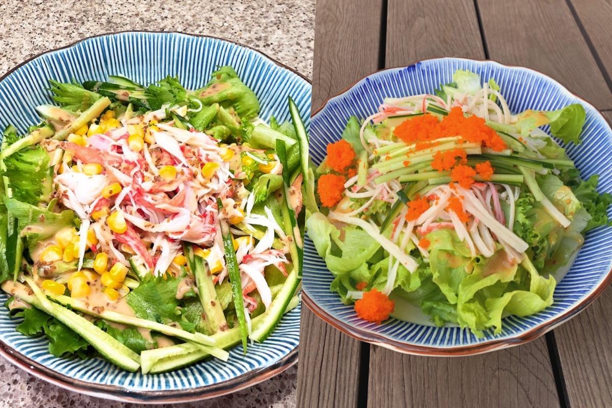 Salad thanh cua là món ngọc nữ thường xuyên chế biến nhất. Thanh cua được làm chín bằng lò vi sóng hoặc luộc sơ cho bớt mùi tanh, để nguội. Hà Tăng xé thanh cua thành sợi nhỏ, trộn chung với rau xà lách, trứng cá, dưa leo bào sợi, đậm vị hải sản. Đôi lúc cô thay đổi các thành phần như bắp Mỹ luộc, salad carol... Và lần nào cũng kết hợp với sốt dầu mè có chút vị béo, bùi.