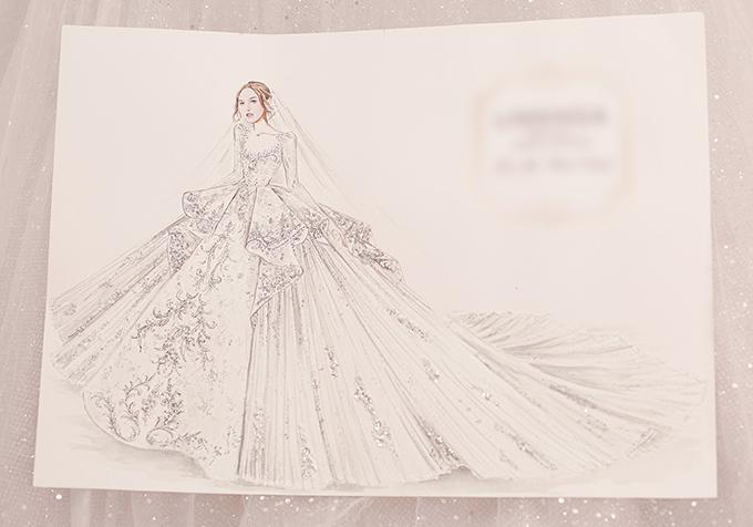 Bản phác thảo của chiếc váy cưới triệu USD.