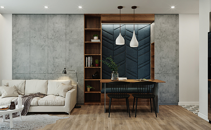 Ấn tượng đầu tiên về căn hộ là thiết kế nhẹ nhàng, thanh lịch, cân bằng giữa thẩm mỹ và công năng, mang đến sự tiện lợi, thoải mái cho gia đình nhỏ.
