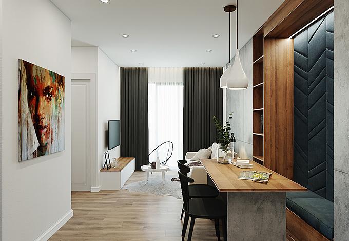 Dù diện tích không lớn nhưng căn hộ vẫn thoáng đãng nhờ việc sắp xếp nội thất hợp lý và tận dụng ánh sáng tự nhiên cho không gian sinh hoạt chung.