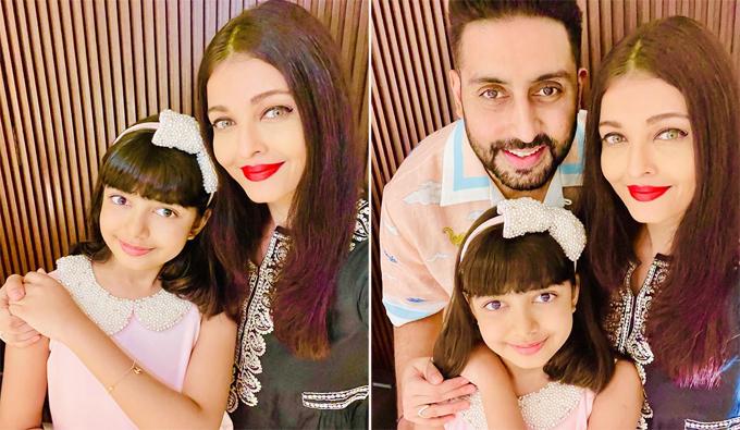 Hoa hậu Thế giới 1994 Aishwarya Rai và chồng trong sinh nhật con gái.