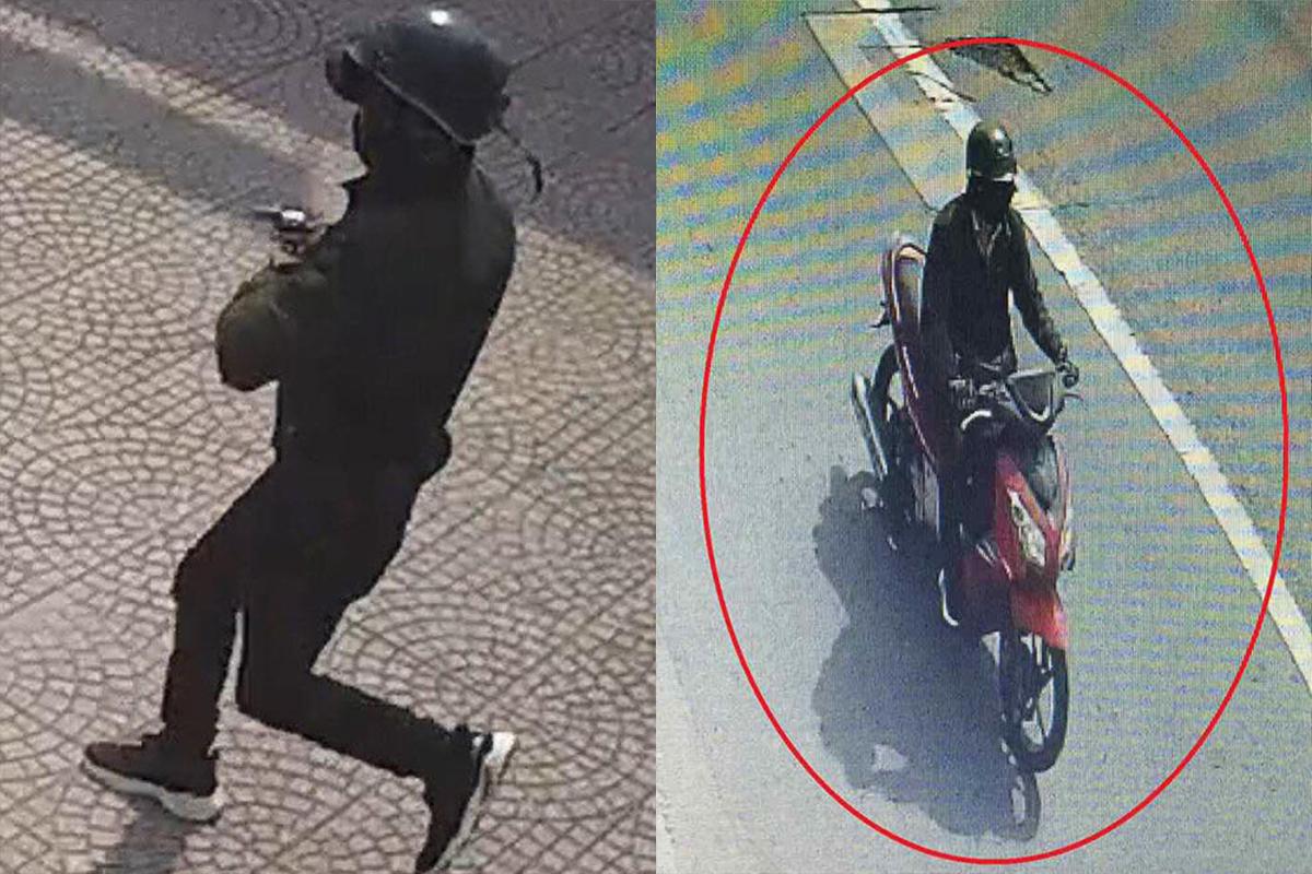 Hình ảnh camera ghi lại tên cướp ngân hàng. Ảnh: Công an cung cấp